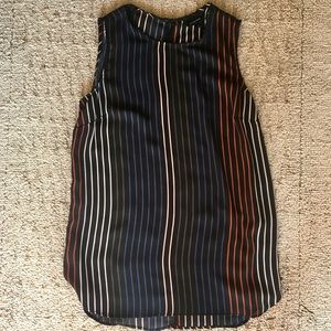 WHOWHATWEAR XS Black and Colorful Stripe Tank